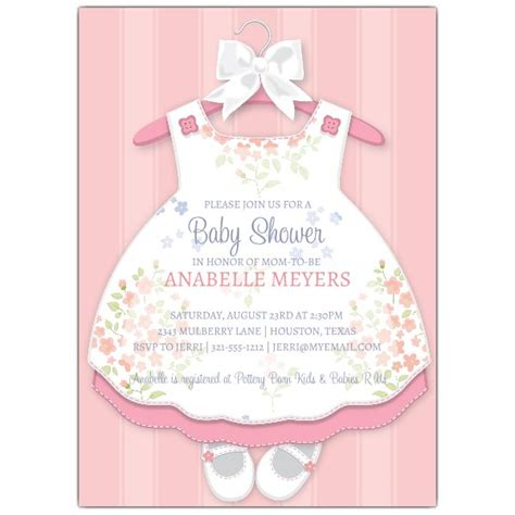 Pink Dress Baby Shower Invitations by Baby Dress Invitations Paperstyle