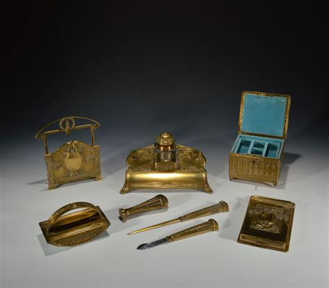 Antique Cased Art Nouveau Brass Desk Set Antique Desk Accessories
