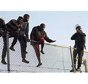Moroccans Sit On Top Of Moroccan Border Fence In Bid To Enter Spanish