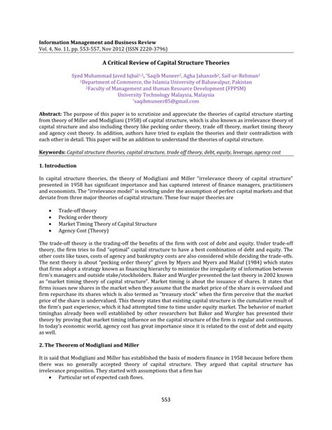 research paper on capital structure a critical review of capital structure theories pdf