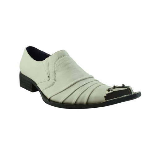 guccinari adillo white leather steel toe cap slip on
