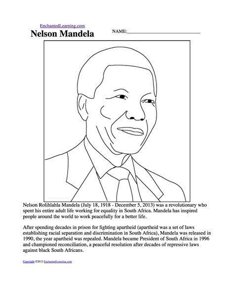 Grade 4 History Worksheets South Africa by Nelson Mandela Enchantedlearning