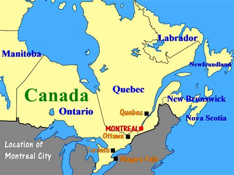 map of us and canada montreal location canada montreal