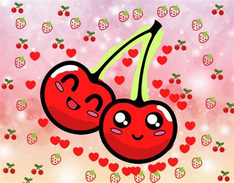 imagenes kawaii frutas dibujo de cerezas kawaii pintado por en dibujos net el d 237 a