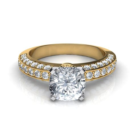 3 sided pave cushion cut engagement ring