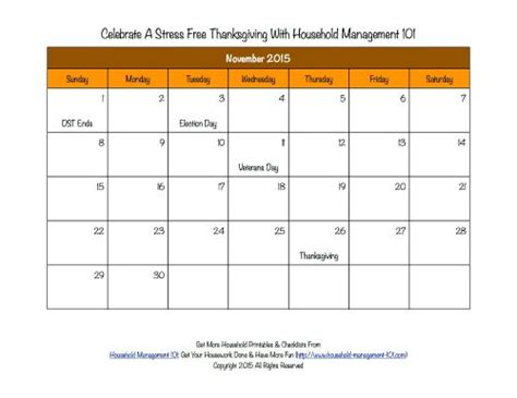 Calendar When Is Thanksgiving Printable Thanksgiving Calendar For November 2015