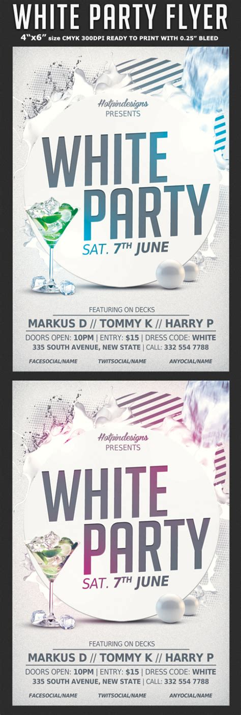 white affair party flyer template flyerstemplates
