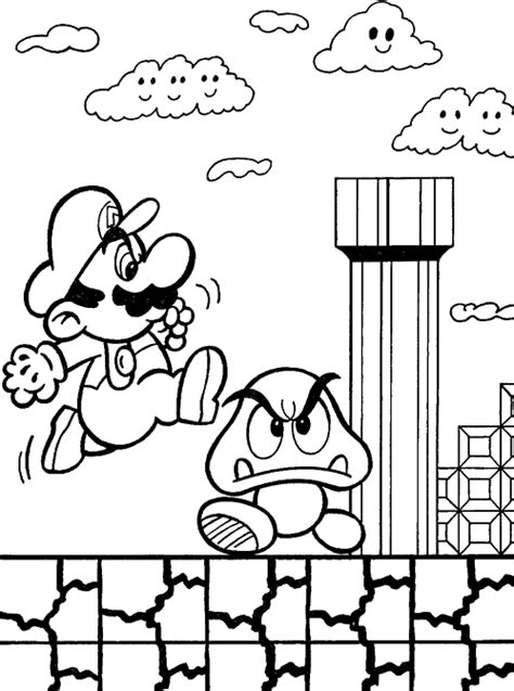 mario broos jumping into the game child coloring