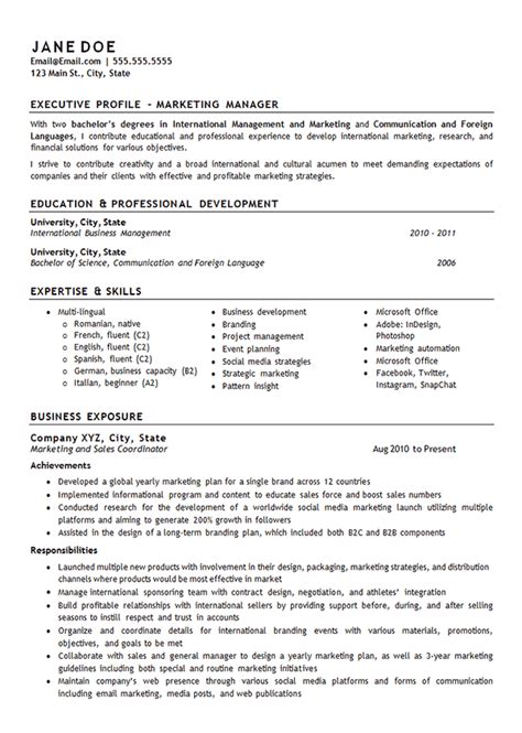 Exle Of A Marketing Resume by Marketing Manager Resume Exle International Management