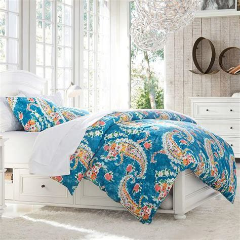 blue paisley bedding blue paisley blossoms duvet cover and sham