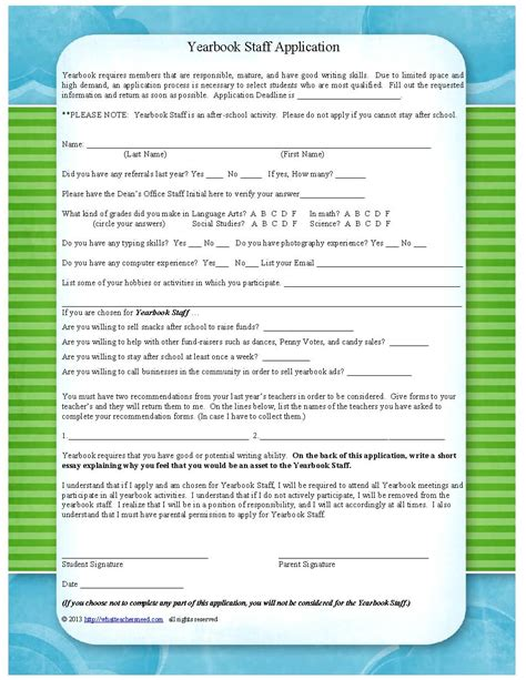 Yearbook Applications Application For Yearbook Staff Includes