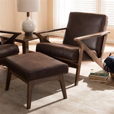 mid century modern chair and ottoman baxton studio bianca mid century modern walnut wood dark
