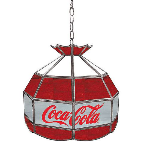 Coca Cola Light Fixture Trademark Global Coca Cola Vintage White Gray 16 Quot Stained Glass L Light Fixture