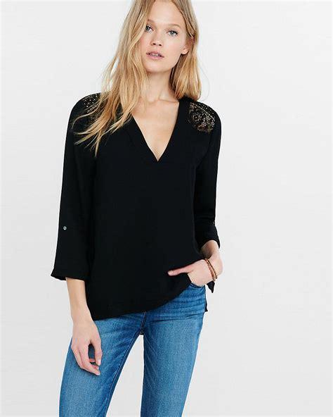 lyst express black v neck lace yoke blouse in black