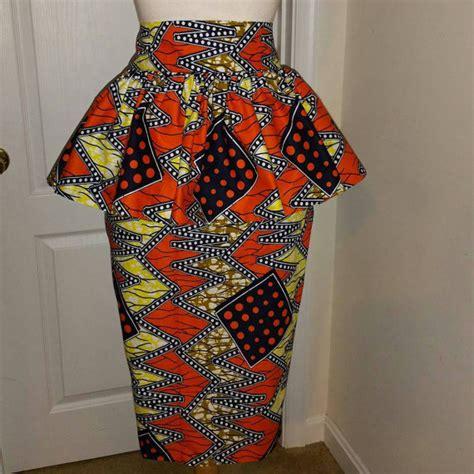 pictures of skirt sown with ankara material ankara pleated peplum straight skirt ankara skirt by