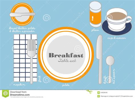 cover layout of continental breakfast breakfast table setting stock photo image of plate