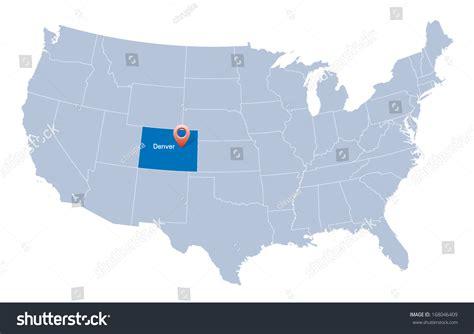 denver in usa map map usa indication state colorado denver stock vector