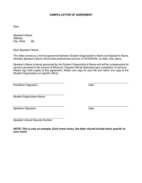 Letter Of Understanding Agreement Free Printable Letter Of Agreement Form Generic