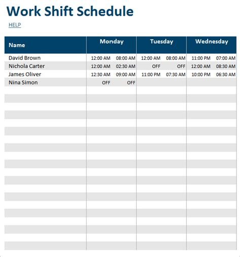 work shift calendar template search results for weekly work schedule template free
