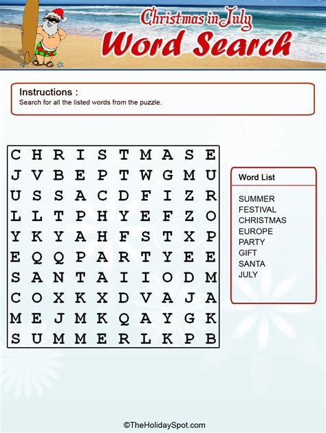 christmas in july color word search template