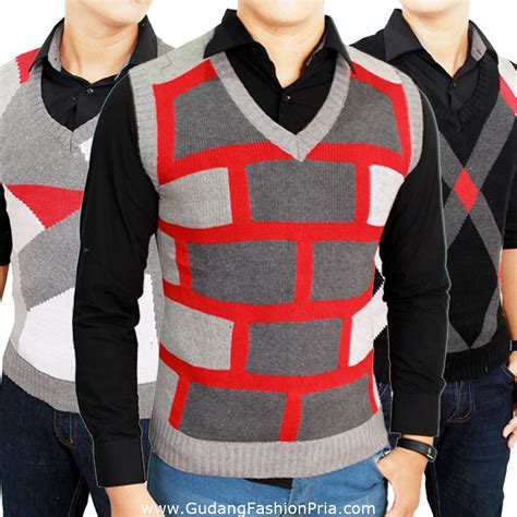 Sweater Rajut 5 Warna rompi pria bahan rajut kombinasi warna sweater casual