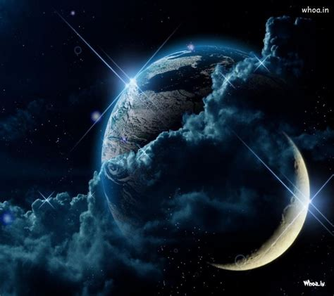 earth moon wallpaper hd creative half moon and earth hd wallpaper
