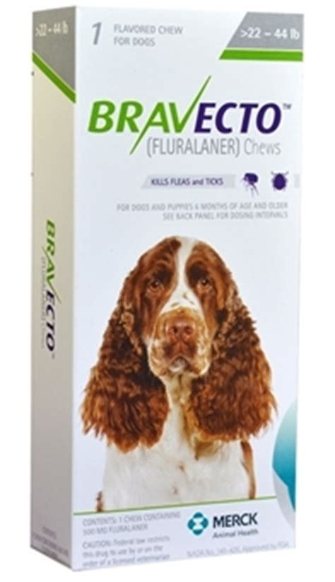 bravecto for dogs 22 44 lbs bravecto 500 mg for dogs 22 44 lbs 1 chewable tablet green vetdepot