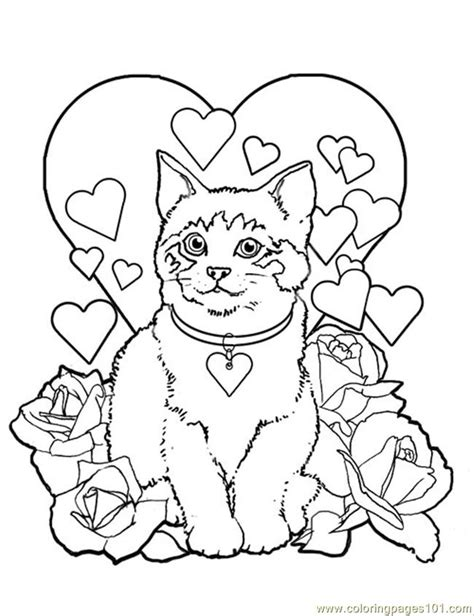 kitty cat coloring page coloring pages valentine kitty cat animals gt cats free