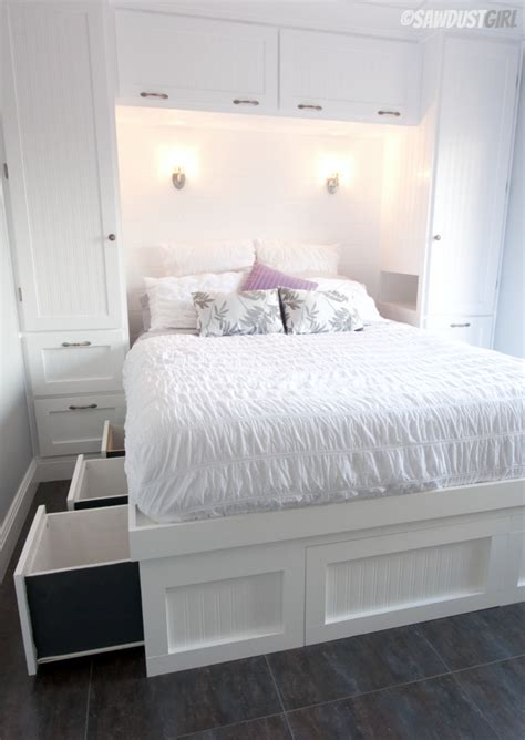 small bedroom solutions built in wardrobes and platform storage bed the sawdust