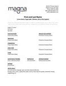 resume help magna talent agency