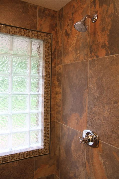 porcelain tile  slate  glass block window
