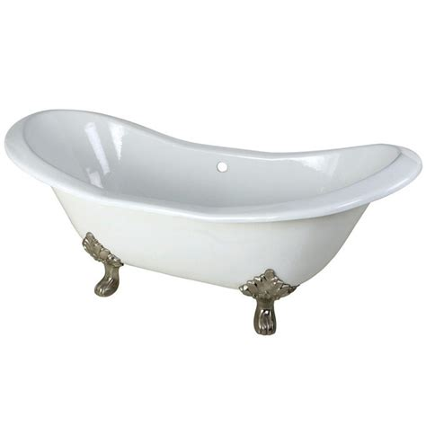 nickel bathtub aqua eden 6 ft cast iron satin nickel claw foot double