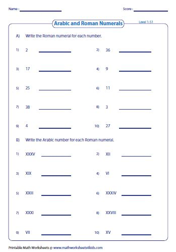 printable math worksheets roman numerals roman numerals worksheets