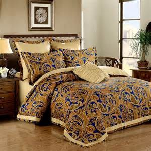 Blue And Gold Bedding Sets Royal Blue And Gold Elizabethan Themed European Style Paisley Pop Abstract Design Luxury