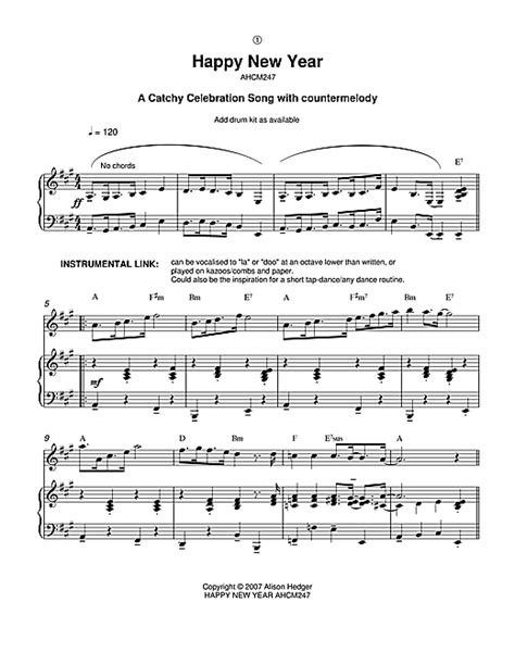 happy new year sheet music by alison hedger piano vocal