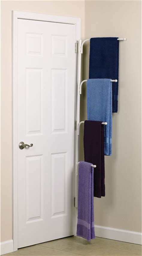 Modern Bathroom Towels Clutterbuster Family Towel Bar White Traditional