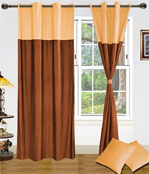 yellow brown curtains samyak set of 2 door eyelet curtains floral yellow brown