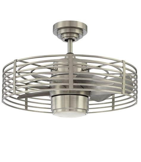 small industrial ceiling fan enclave 23 in satin nickel ceiling fan
