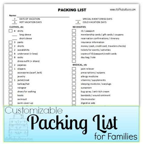 family vacation packing list template packing list spreadsheet for families customizable tip