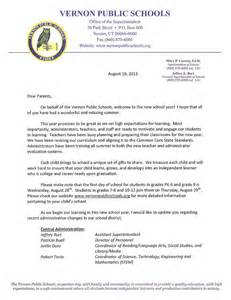 Official Break Letter welcome back letter to parents from principal