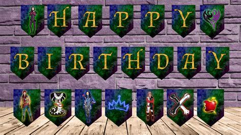 printable descendants banner disney descendants happy birthday banner