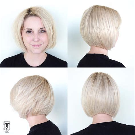 photo graduated blunt cut bob women s platinum slightly graduated bob with blunt edges