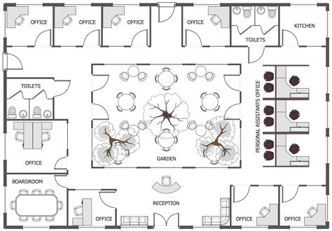 floor plan of the office office layout plans solution conceptdraw com