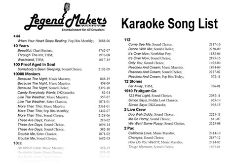 song list karaoke song list legend makers entertainment for all