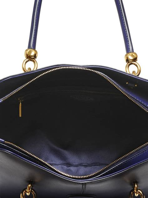 Sella Top lyst tod s medium sella leather top handle in blue