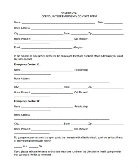 Sle Emergency Contact Form 11 Free Documents In Word Pdf Volunteer Contact Form Template