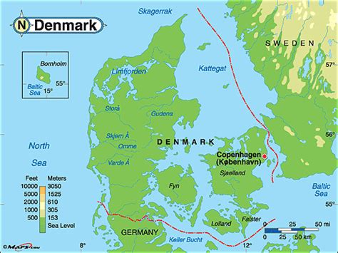 physical map of denmark denmark physical map by maps from maps world s