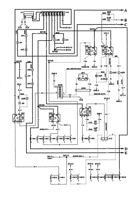 volvo 960 1995 wiring diagrams power distribution