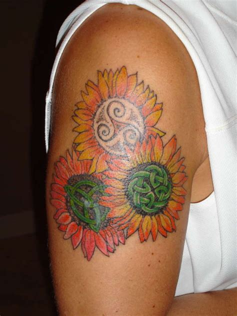 tribal sunflower tattoo bright sunflower design on shoulder creativefan