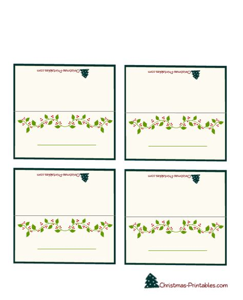 Free Printable Christmas Place Cards free printable place cards